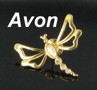 Avon Dragonfly Lapel Pin Aurora Borealis Rhinestones Gold Tone Bug