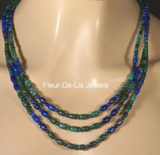 Jay King Mine Finds Lapis Malachite Necklace Sterling Silver