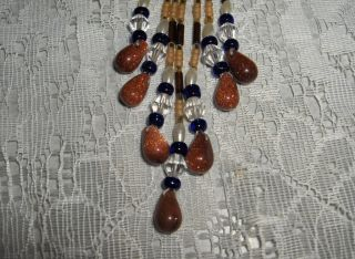 LAKOTA Talisman Bag Beads Sienna Brown Blue Necklace