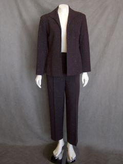 Sz 6 Lafayette 148 New York Brown Flecked Wool Jacket Blazer Pant Suit