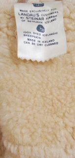 Vtg natural suede leather shearling oversized lamb fur jacket coat m