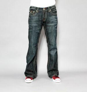 New Mens Laguna Beach Jeans Laguna Green Stitch Boot Cut 34