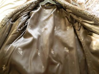 Vintage Persian Lamb Ombre Gray Mink Collar Fur Coat Gorgeous M Large