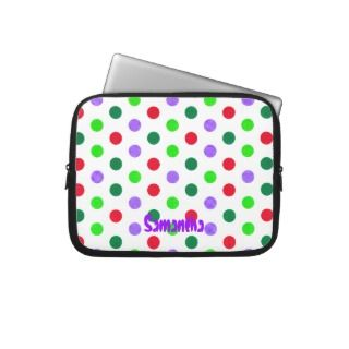 Polka Dots Purple and Green Electronics Sleeve Computer Sleeve