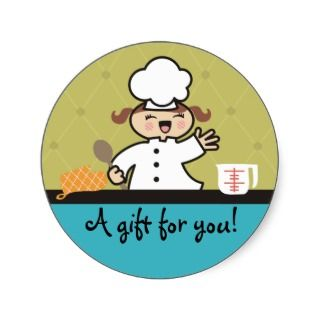 Kawaii girl chef kids cooking gift tag stickers