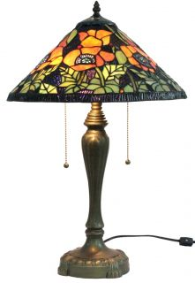 Poppies Style Tiffany Style Stained Glass Table Lamp W/ 16 Shade