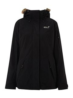 Jack Wolfskin Savage rose jacket with faux fur hood Black