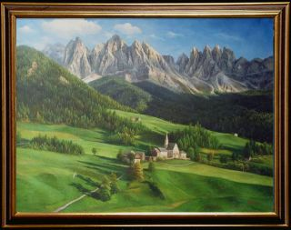 North Italy Bolzano Landscape Art Oil Painting on Canvas 36x48