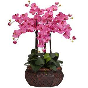 LARGE 30 ARTIFICIAL SILK FAKE PINK ORCHID FLOWER ARRANGEMENT w/ VASE