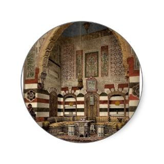 Interior of a house, Damascus, Holy Land, (i.e. Sy Round Stickers