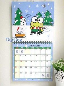 Sanrio Kerokero Keroppi Frog Large Wall Calendar w 156 Stickers