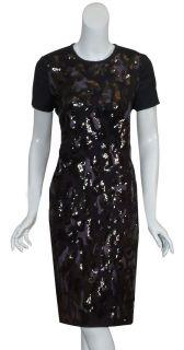 Tory Burch Black Larissa Sequin Embroidery Dress 6 New