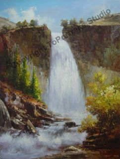 Abstract Large Waterfall Original Canvas Oil Painting