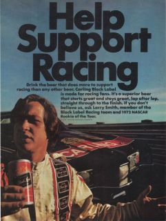 1973 Larry Smith NASCAR Auto Racing Rookie of The Year Carlings Beer