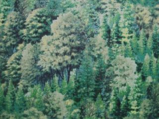 Green Forest Trees Bushes Landscape South Sea Fabric Yd