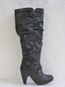 Lane Bryant Black Rouched Buckle Detail Boots Sz 9W