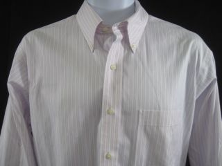 Lanesboro Mens Pink Striped Button Front Shirt Sz L
