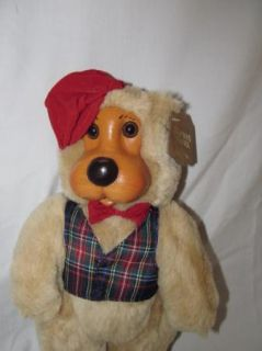 Raikes Bear Papa 1st Fathers Day w Red Hat Plaid Vest 1991 Hang Tag 9