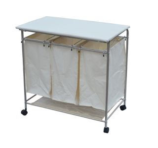 Mobile Laundry Cart w Removable 3 Bag Washing Hamper Built in Ironing
