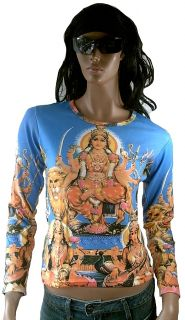 DURGA MATA +Lion Hindu Deity Goa Party DJ Tattoo Art ViP Star Designer