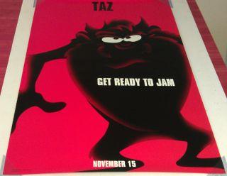 Space Jam Movie Poster 2 Sided Original Taz 27x40