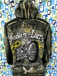 AFFLICTION INDIAN LARRY SHAMAN SIZE M GREEN ACMC JACKET HOODIE