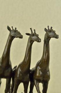 Giraffe and Baby Giraffe Large Cast Bronze Statue Landscape Animals