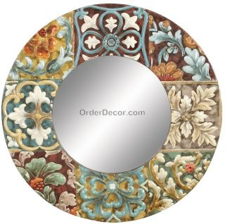 Large 29 Round Artsy Wall Mirror Colorful Metal Frame