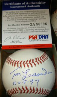 Tommy Lasorda Autograph Signed MLB Baseball HOF PSA DNA