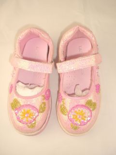 Laura Ashley Pink Dolly Sequin Girls Shoes EU24 32