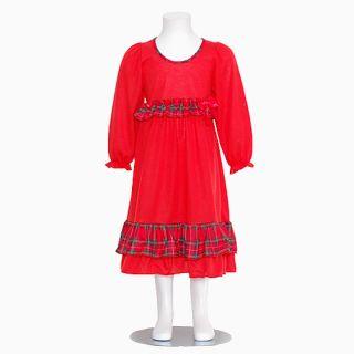 Laura Dare Girls Red Plaid Trim Ruffle Christmas Nightgown Girls 2T