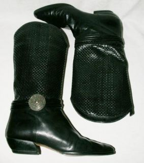 Larry Stuart Collection Black Leather Western Style Tall Womens Boots