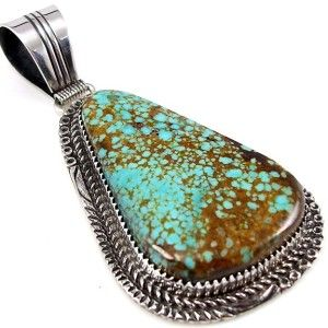 Lauren Begay Navajo 8 Turquoise Sterling Silver Large Pendant