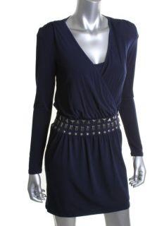 Laundry by Design New Navy Long Sleeve Drop Waist Beaded Casual Dress