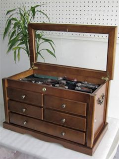 Large Knife Display Case Storage Cabinet w Shadow Box on The Top Solid