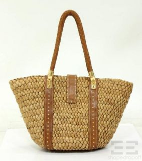 Michael Kors Brown Leather Woven Straw Large Handbag New