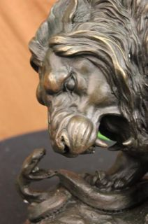Art Deco Bronze Lion Kills Snake Statue Sculpture Barye Marble