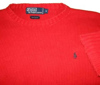 Ralph Lauren Polo Red Cotton Sweater M Sewn Pony Logo Heavy Weight