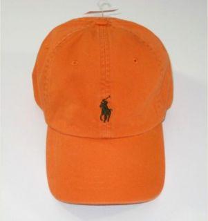NWT Polo RALPH LAUREN Mens Womens Baseball Cap Orange Green Pony New