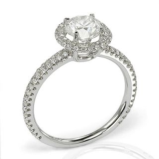 51 G VS2 Round Brilliant Cut Diamond Micro Pave Halo Engagement Ring
