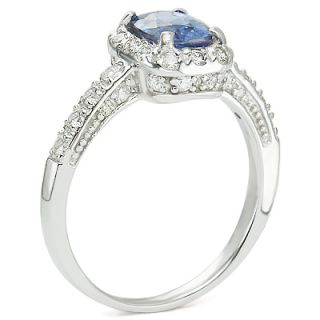 97 Ct Cushion Cut Sapphire Diamond Engagement Ring