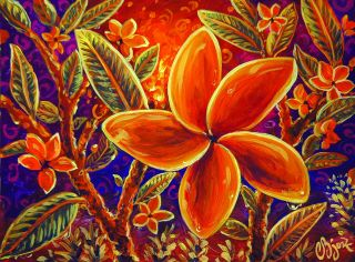 Original Painting Garden Hot Lava Plumeria Flowers Polynesian