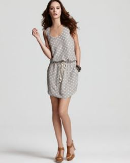 Sam Lavi New Olivia Gray Drawstring Waist Polka Dot Sleeveless Casual