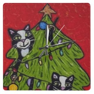 Folk Art Cats Christmas Tree Square Wall Clock