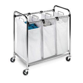Heavy Duty Triple Laundry Cart Hamper Sorter Oraganizer Chrome New