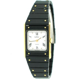Leroy Quartz Acier Inoxydable 8801 Black Gold Tone Ladies Watch Pre