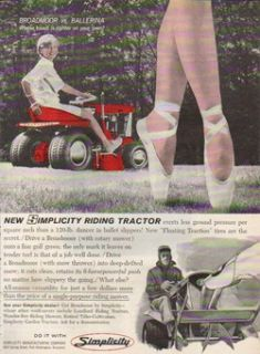 1964 Simplicity Broadmoor Garden Lawn Tractor Mower Ad