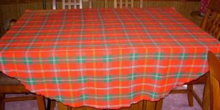 Woven Christmas Round Plaid Tablecloth Leacock 66