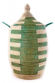 Senegal Fair Trade Forest Green Tribal Comb Laundry Hamper