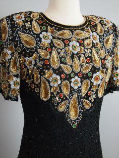 Vtg 80s Lawrence Kazar Silk Cutout Beaded Trophy Dress Mini Glam
